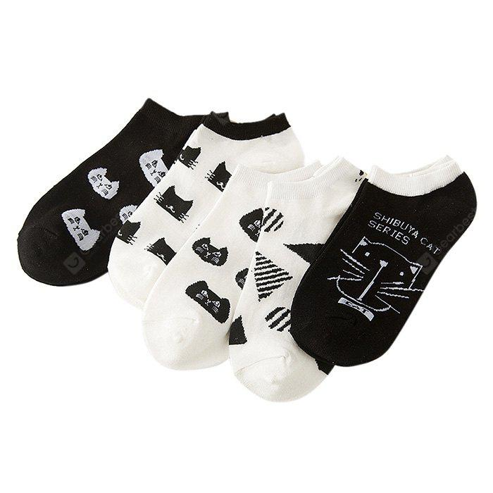 5 Paired Cute Cat Pattern Invisible Design Meias de tornozelo para homens