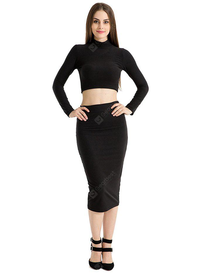 High Collar Long-sleeved Two-piece Fitted Dress