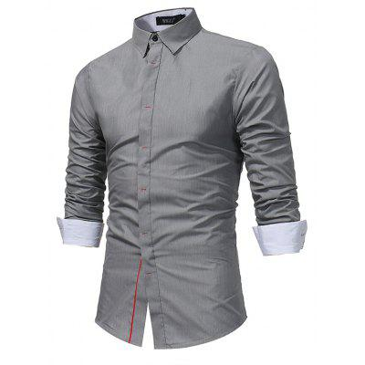 WSGYJ 1600 - 7690 Hit Color Long Sleeve Men Shirt