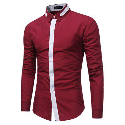 WSGYJ 1600 - 7678 Hit Color Long Sleeve Men Shirt