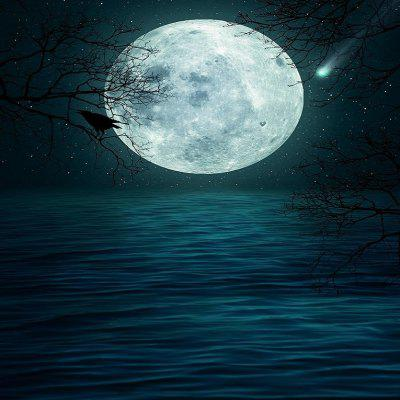 Halloween Terrifying Moon Lake Night Background Cloth