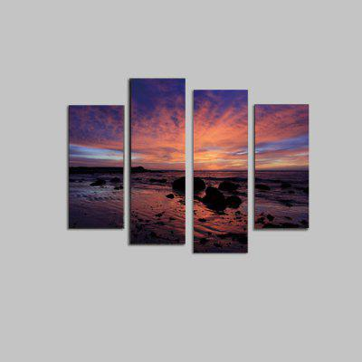 God Painting Sunset Sea Printed Painting Canvas Print 4PCS