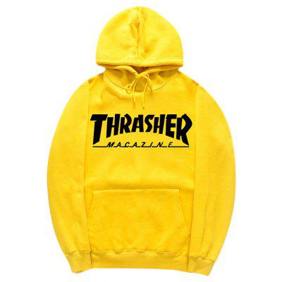 Buy YELLOW 2XL HZIJUE Casual Printing Hooded Hoodie Sweatshirt for $23.49 in GearBest store