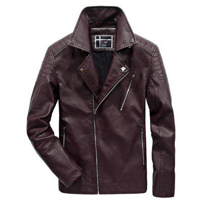 JOOBOX Fashion Stand Collar PU Leather Jacket Coat