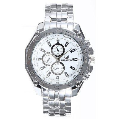 ORLANDO 410 Decorative Sub-dials Men Quartz WatchMens Watches<br>ORLANDO 410 Decorative Sub-dials Men Quartz Watch<br><br>Available Color: Black,Blue,White<br>Band material: Stainless Steel<br>Brand: Orlando<br>Case material: Stainless Steel<br>Clasp type: Folding clasp with safety<br>Display type: Analog<br>Movement type: Quartz watch<br>Package Contents: 1 x ORLANDO 410 Watch<br>Package size (L x W x H): 21.00 x 5.50 x 1.80 cm / 8.27 x 2.17 x 0.71 inches<br>Package weight: 0.1200 kg<br>Product size (L x W x H): 20.00 x 4.50 x 0.80 cm / 7.87 x 1.77 x 0.31 inches<br>Product weight: 0.0900 kg<br>Shape of the dial: Round<br>Special features: Decorating small sub-dials<br>The band width: 1.8 cm / 0.71 inches<br>The dial diameter: 4.5 cm / 1.77 inches<br>The dial thickness: 0.8 cm / 0.31 inches<br>Watch style: Fashion<br>Watches categories: Male table