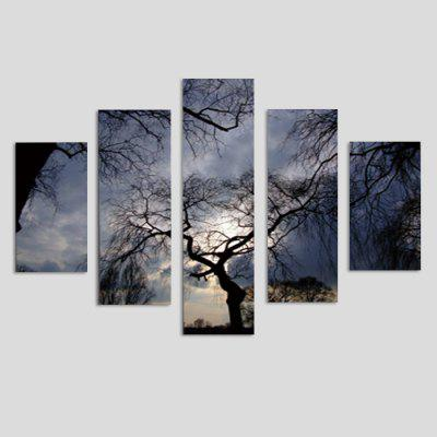 God Painting Tree Printed Painting Canvas Print 5PCS
