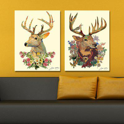 DYC Sika Deer Motif Giclee Print Framed Canvas Painting 2PCS