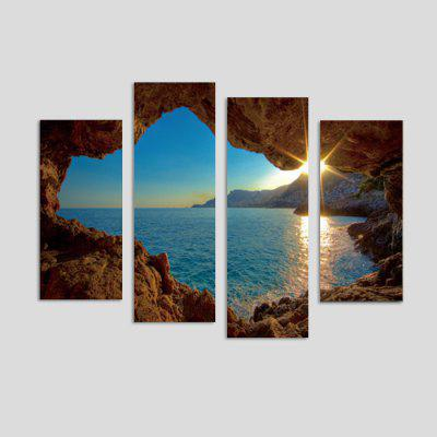 God Painting Sunset Printed Painting Canvas Print 4PCS