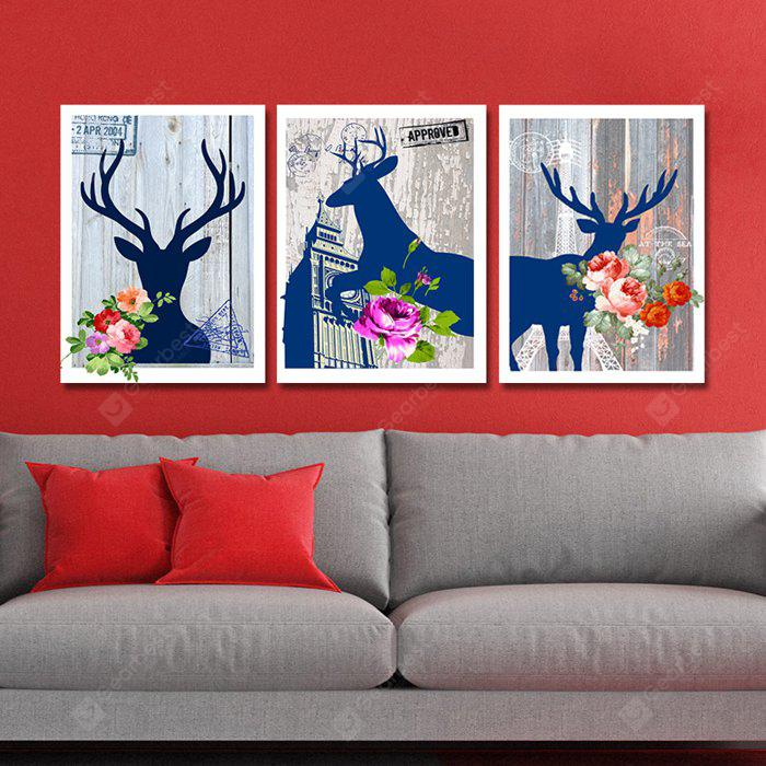 DYC Sika Deer Motif Giclee Print Framed Canvas Painting 3PCS