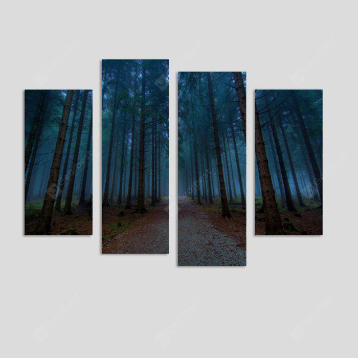 God Painting Forest Road Printed Painting Canvas Print 4PCS