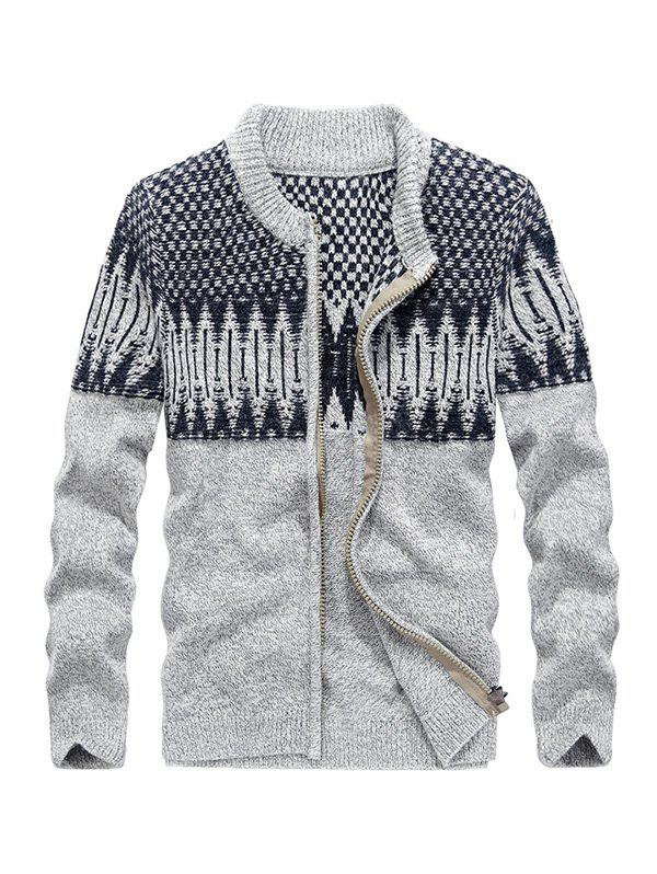 JOOBOX Comfortable Geometric Pattern Cardigan