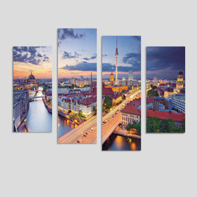God Painting City View Printed Painting Canvas Print 4PCS