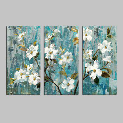 DYC White Flowers Printed Painting Canvas Print 3PCS