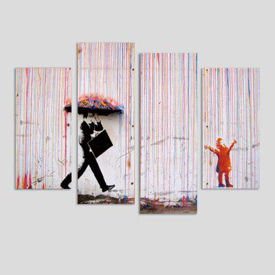 God Painting Rainy People Printed Painting Canvas Print 4PCS