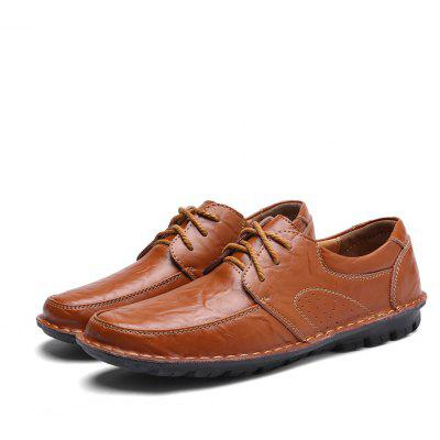 Buy DARK AUBURN 39 Male Business Soft Breathable Manual Casual Oxford Shoes for $40.59 in GearBest store