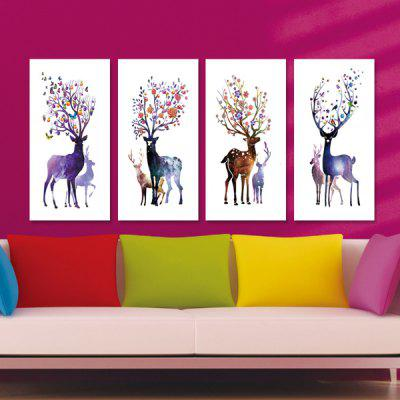 DYC Sika Deer Motif Giclee Print Framed Canvas Painting 4PCS