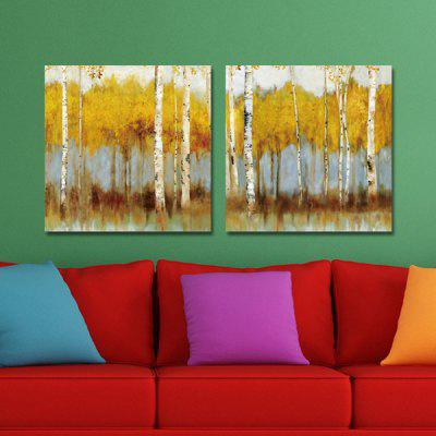 DYC Yellow Tree Motif Giclee Print Framed Canvas Painting 2PCS