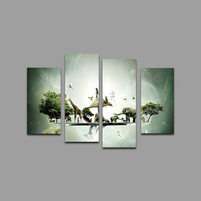 God Painting Animals Printed Painting Canvas Print 4PCS