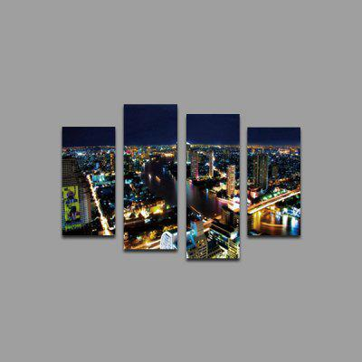 God Painting Night City Printed Painting Canvas Print 4PCS
