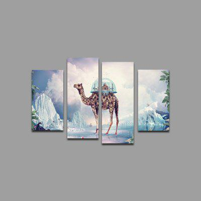 God Painting Camel Castle Printed Painting 4PCS