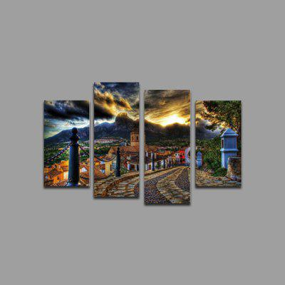 God Painting Town Road Printed Painting Canvas Print 4PCS