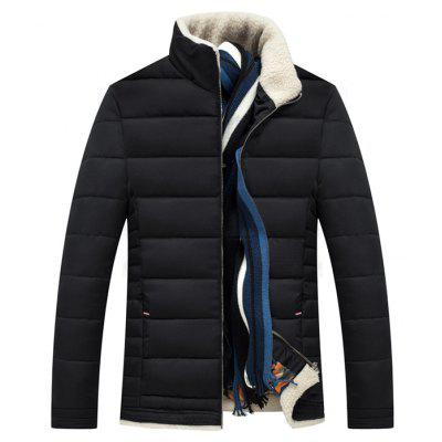 Male Simple Stand-up Collar Thickening Coat