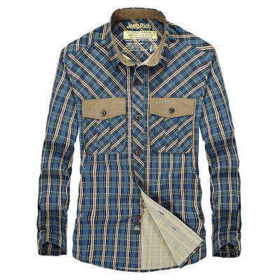 Jeep Rich Male Casual Simple Plaid Shirt