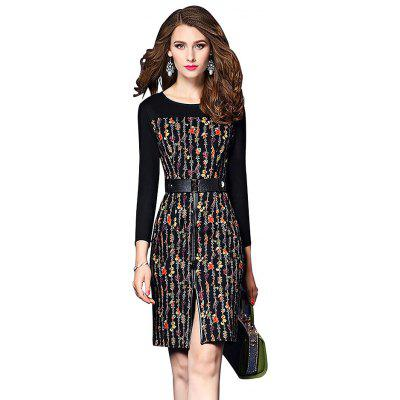 Round Collar Printed Long-sleeved Fitted Dress