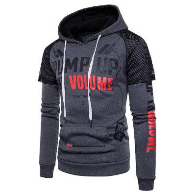 Men Printed Pullover Hoodie with Hollow-shoulder Design