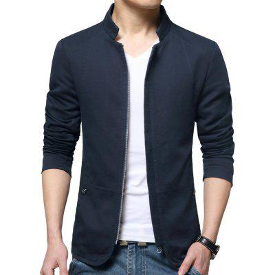 Buy BLUE L Stylish Stand Collar Jacket for $33.56 in GearBest store