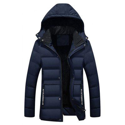 Buy CADETBLUE L Male Pure Color Simple Hooded Thickening Coat for $64.52 in GearBest store