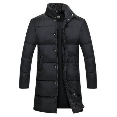 Male Stand-up Collar Simple Solid Color Coat