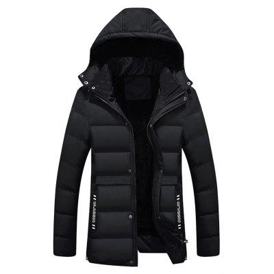 Buy BLACK XL Male Pure Color Simple Hooded Thickening Coat for $64.52 in GearBest store