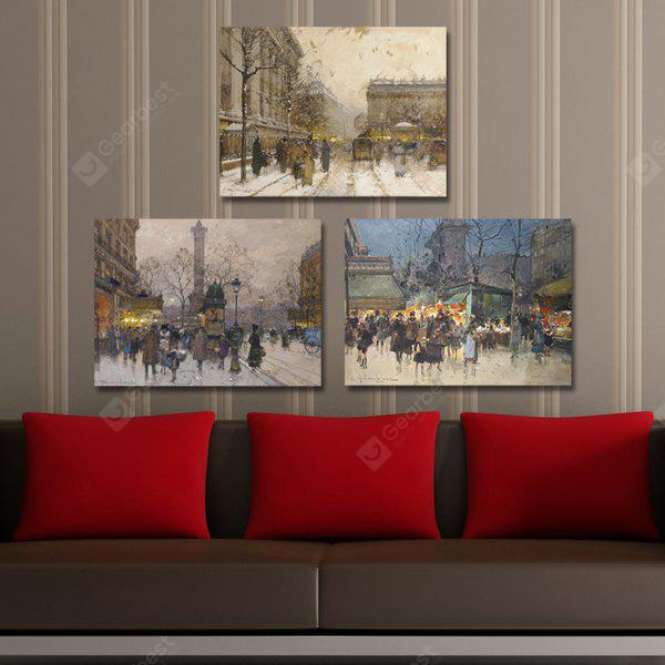 DYC Winter Cityscape Giclee Print Framed Canvas Painting 3PCS