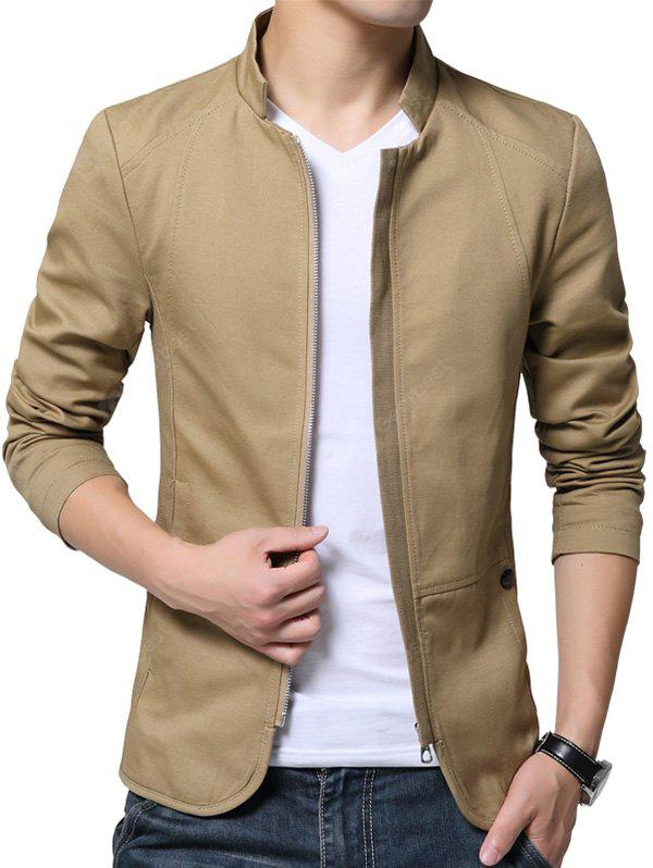 EARTHY 5XL Stylish Stand Collar Jacket