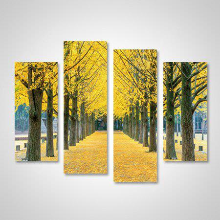 God Painting Modern Print Gold Leaves Wall Decor 4PCS