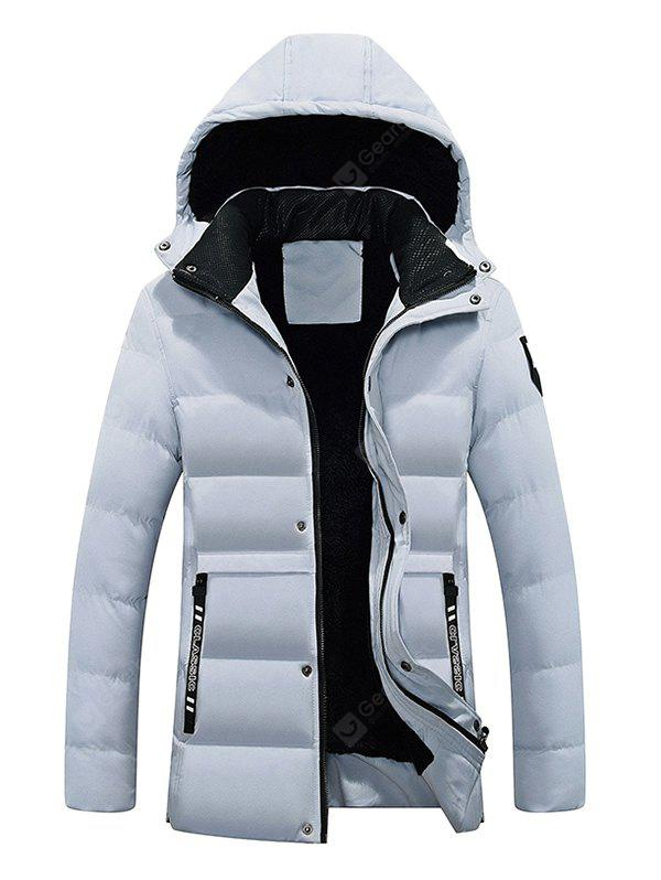 GRAY 3XL Male Pure Color Simple Hooded Thickening Coat