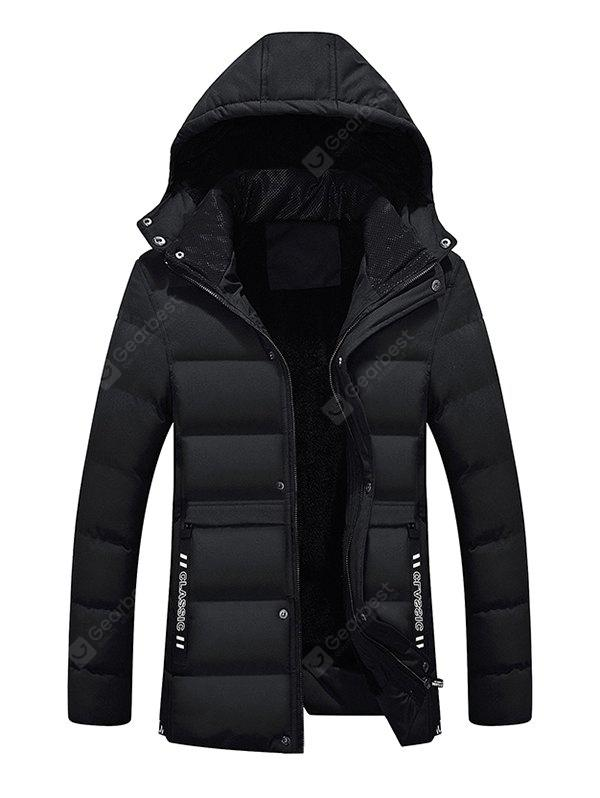 Male Pure Color Simple Hooded Thickening Coat