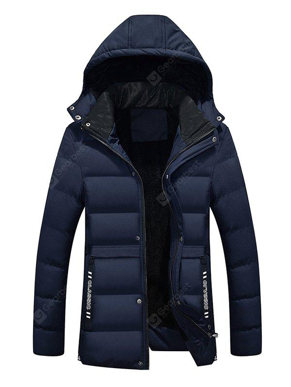 CADETBLUE 4XL Male Pure Color Simple Hooded Thickening Coat