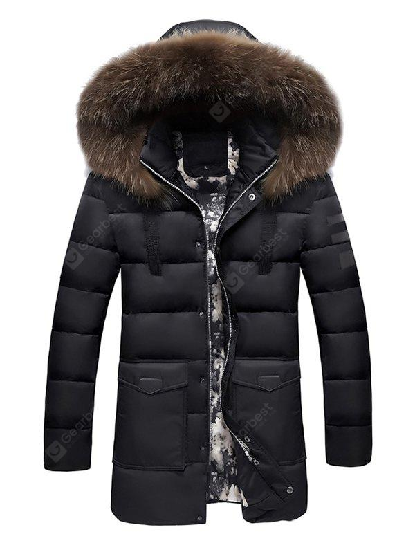 Male Thickening Hooded Solid Color Fur Collar Coat