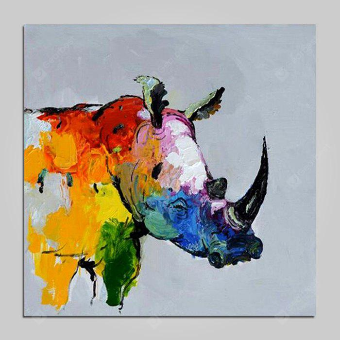 Mintura Canvas Oil Painting Rhinoceros Hanging Wall Art