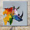 Mintura Canvas Oil Painting Rhinoceros Hanging Wall Art - COLORMIX