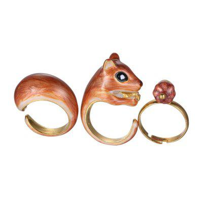 Stack Alloy Cute Animal Open Knuckle Ring 3PCS
