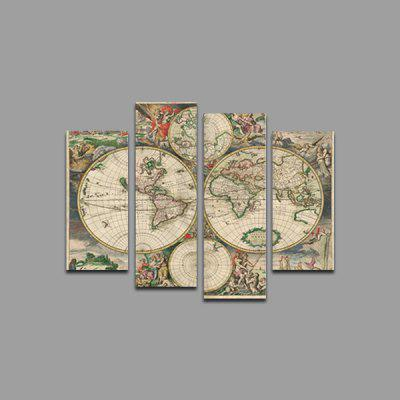 God Painting Modern Prints World Map Wall Art 4PCS