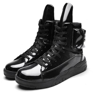 Male Unique Glossy High-top Zipper Casual Boots With Wallet