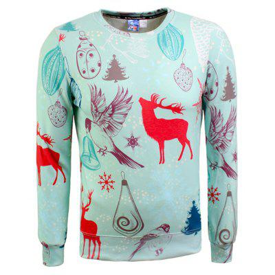 Male Creative Elk Printed Sweatshirts Fashion Hoodie