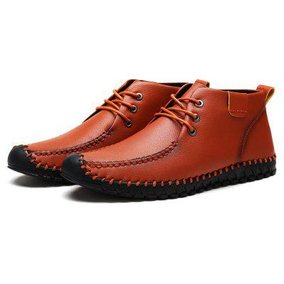 Male Ankle Padded Stitching Warmest Casual Leather Shoes