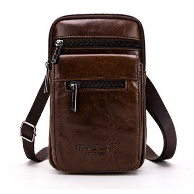 Men Trendy Genuine Leather Hook Waist Bag