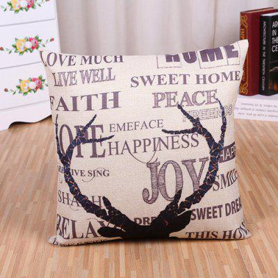 LAIMA Soft Pillowcase Deer Horn Printed Square Pillow Cover