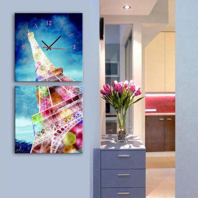 E - HOME Colorful Tower Decorative Mural Wall Clock 2PCS
